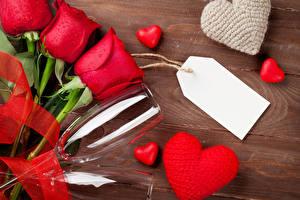 Фотографии День всех влюблённых Розы Красный Бокалы Шаблон поздравительной открытки Сердечко Цветы