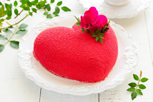 Обои День святого Валентина Сладости Торты Дизайна Сердечко Красная Еда