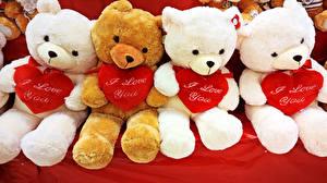 Фотография День всех влюблённых Мишки Сердечко Сидящие Английский
