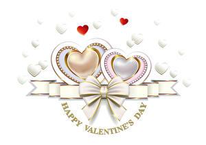 Фотографии День святого Валентина Белый фон Английский Сердце Бантик