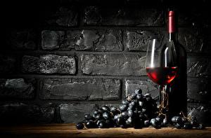 Фотографии Вино Виноград Стена Бутылка Бокалы Еда