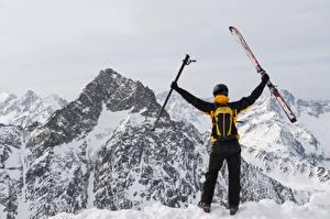 Обои Зимние Горы Лыжный спорт Снег Вид Спорт