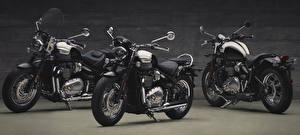 Картинки Втроем Черный 2017 Triumph Bonneville Speedmaster Мотоциклы