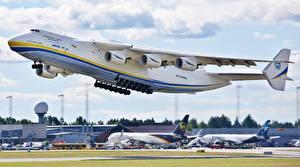 Картинки Самолеты Транспортный самолёт Взлет Русские An-225 Mriya Авиация