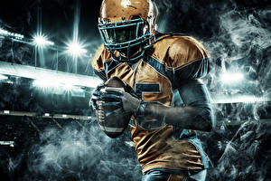 Фото Американский футбол Мужчины Униформа Перчатки Мяч Спорт