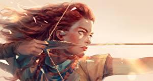 Фотографии Лучники Рисованные Horizon Zero Dawn Воины Стрела Рыжие Fan ART Игры Девушки