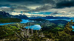 Картинки Аргентина Парк Гора Озеро Небо Облака Холмы National Park Nahuel Huapi Природа