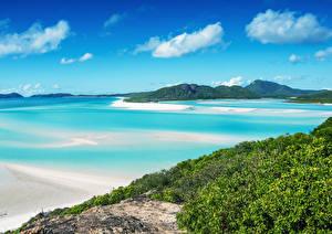 Обои Австралия Берег Небо Трава Залив Whitsunday Island Природа