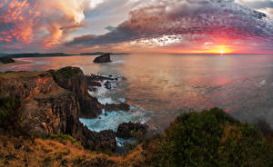 Картинки Австралия Пейзаж Рассветы и закаты Море Берег Небо Утес Облака Kiama Природа