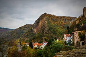 Картинка Австрия Горы Дома Осенние Durnstein