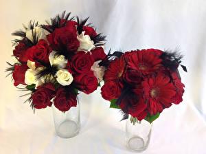 Фотография Букеты Розы Герберы 2 Цветы