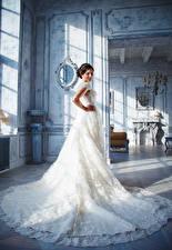 Картинки Невеста Шатенка Платье