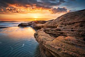 Фото Болгария Берег Рассветы и закаты Пейзаж Небо Ravda