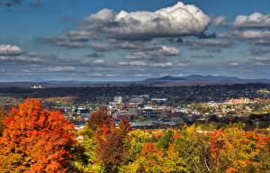 Фотография Канада Здания Осенние Небо Облака Sherbrooke Quebec Города