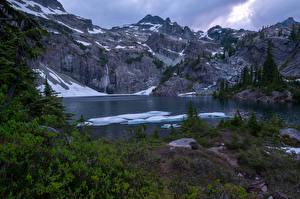 Фото Канада Горы Озеро Снег Ель Glacier Lake Природа