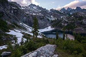 Картинки Канада Горы Озеро Ель Снег Glacier Lake Природа
