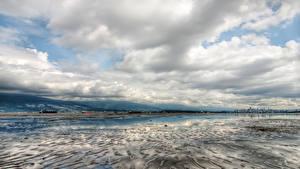 Картинка Канада Зимние Небо Ванкувер Залив Облачно Природа