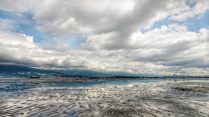 Картинка Канада Зимние Небо Ванкувер Залив Облака