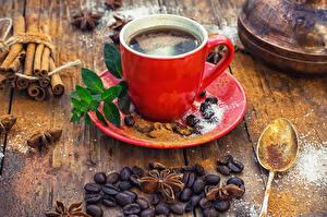 Фотография Кофе Корица Чашка Красный Зерна Сахар