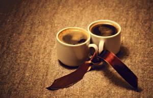 Фотография Кофе Чашка 2 Ленточка Пища