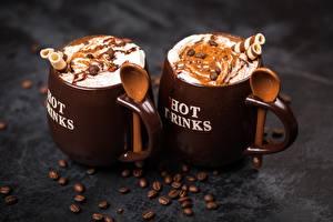 Фото Кофе Зерна Кружка Двое Ложка Продукты питания