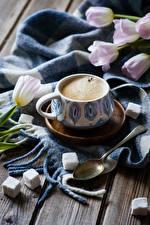 Фотографии Кофе Тюльпаны Доски Чашка Сахар Ложка