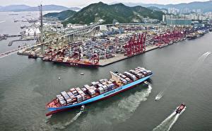 Фотографии Контейнеровоз Берег Пристань Maersk Line, port Города