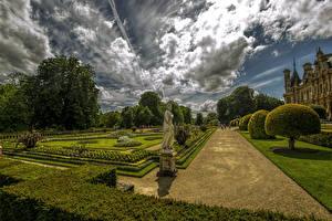 Обои для рабочего стола Англия Парки Скульптуры Газоне Дизайн Кустов Waddesdon Manor Buckinghamshire Природа
