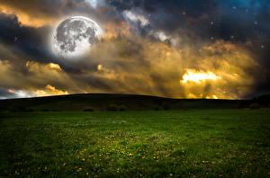 Картинки Поля Небо Холмов В ночи Облачно Луной Природа