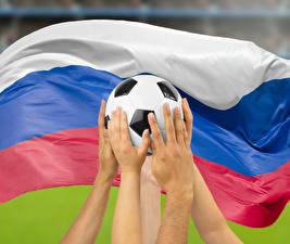 Фотография Футбол Россия Мяч Руки Флаг Русские Спорт