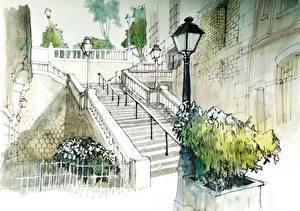 Фотографии Франция Картина Париж Лестница Уличные фонари Montmartre