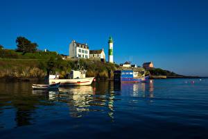 Фотографии Франция Речка Здания Маяки Лодки Катера Doelan  Brittany Города
