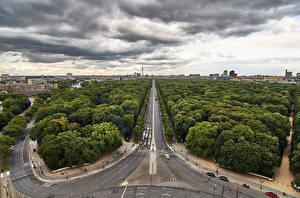 Фото Германия Берлин Дороги Здания Парки