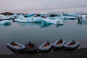 Фото Исландия Лодки Лед Залив Jokulsarlon Lagoon Природа