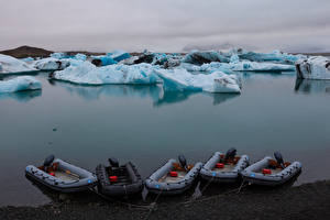 Фото Исландия Лодки Льда Залив Jokulsarlon Lagoon Природа