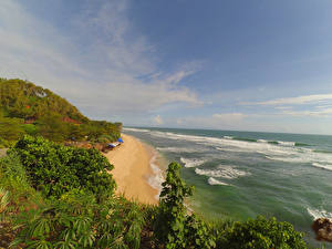 Картинки Индонезия Тропики Побережье Волны Кусты Tanjungsari  Yogyakarta Природа