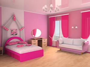 Картинка Интерьер Детская комната Дизайн Кровать Диван Люстра