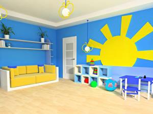 Картинки Интерьер Детская комната Дизайн Диван