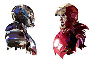 Картинки Железный человек герой Белый фон tony stark mark 3 mark 2 Фантастика