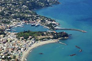 Фотографии Италия Берег Здания Причалы Ischia