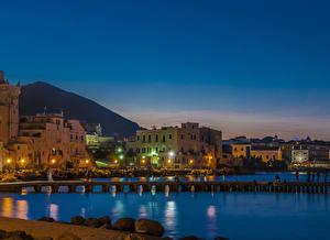 Фотография Италия Здания Пирсы Вечер Ischia Ponte Города