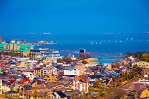 Картинка Япония Дома Пристань Берег Otsu Shiga Города