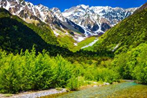 Обои Япония Горы Река Кусты Kamikochi Nagano Природа