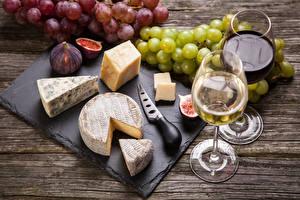 Картинка Ножик Вино Сыры Виноград Инжир Бокалы 2 Пища
