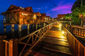 Фотография Малайзия Тропики Здания Вечер Уличные фонари Berjaya Langkawi Resort