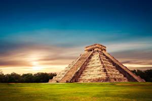 Картинки Мексика Рассвет и закат Храм Temple of Kukulcan