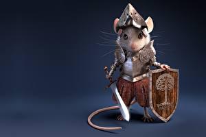 Фотография Мыши Рыцарь Воины Мечи Щит Броня Antonio Ferre Фантастика