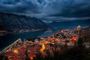 Фото Черногория Дома Вечер Горы Заливы Kotor Города