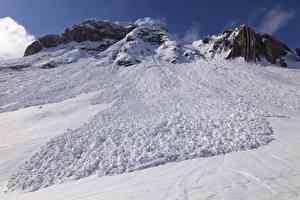 Картинки Горы Зима Снег Природа