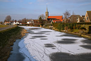 Фотографии Нидерланды Дома Реки Зима Снег Schermer Города